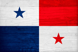 Panama Flag Design with Wood Patterning - Flags of the World Series Art by Philippe Hugonnard