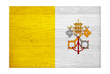 Vatican City Flag Design with Wood Patterning - Flags of the World Series Print by Philippe Hugonnard