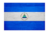 Nicaragua Flag Design with Wood Patterning - Flags of the World Series Prints by Philippe Hugonnard