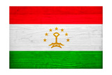 Tajikistan Flag Design with Wood Patterning - Flags of the World Series Print by Philippe Hugonnard