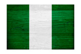 Nigeria Flag Design with Wood Patterning - Flags of the World Series Plakater af Philippe Hugonnard