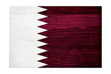 Qatar Flag Design with Wood Patterning - Flags of the World Series Prints by Philippe Hugonnard