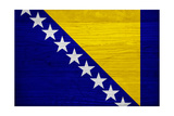 Bosnia And Hercegovina Flag Design with Wood Patterning - Flags of the World Series Prints by Philippe Hugonnard