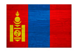 Mongolia Flag Design with Wood Patterning - Flags of the World Series Posters by Philippe Hugonnard