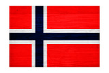 Norway Flag Design with Wood Patterning - Flags of the World Series Print by Philippe Hugonnard