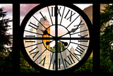 Giant Clock Window - View of Central Park Buildings at Sunset IV Photographic Print by Philippe Hugonnard