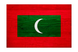 Maldives Flag Design with Wood Patterning - Flags of the World Series Posters by Philippe Hugonnard
