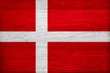 Denmark Flag Design with Wood Patterning - Flags of the World Series Poster by Philippe Hugonnard