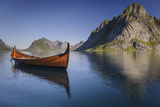 A Viking Boat Replica on a Lake in Norway Photographic Print by James Richardson
