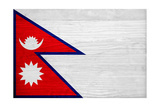 Nepal Flag Design with Wood Patterning - Flags of the World Series Prints by Philippe Hugonnard