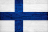 Finland Flag Design with Wood Patterning - Flags of the World Series Prints by Philippe Hugonnard