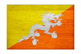 Bhutan Flag Design with Wood Patterning - Flags of the World Series Prints by Philippe Hugonnard
