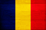 Romania Flag Design with Wood Patterning - Flags of the World Series Art by Philippe Hugonnard