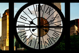 Giant Clock Window - View of Central Park Buildings at Sunset Photographic Print by Philippe Hugonnard