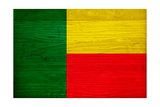 Benin Flag Design with Wood Patterning - Flags of the World Series Prints by Philippe Hugonnard