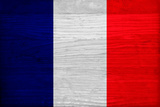 France Flag Design with Wood Patterning - Flags of the World Series Print by Philippe Hugonnard