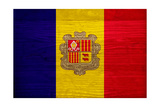 Andorra Flag Design with Wood Patterning - Flags of the World Series Print by Philippe Hugonnard