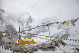 Tents and Prayer Flags at Base Camp Photographic Print by Max Lowe