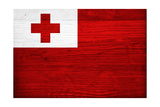 Tonga Flag Design with Wood Patterning - Flags of the World Series Posters by Philippe Hugonnard