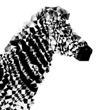 Low Poly Safari Art - Zebra Profile - White edition II Prints by Philippe Hugonnard