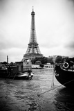 Paris sur Seine Collection - Barges along River Seine with Eiffel Tower III Photographic Print by Philippe Hugonnard