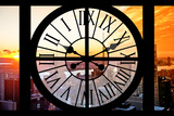 Giant Clock Window - View on the New York City at Sunset II Photographic Print by Philippe Hugonnard