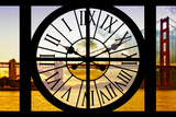 Giant Clock Window - View of the Golden Gate Bridge at Sunset - San Francisco Photographic Print by Philippe Hugonnard