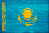 Kazakhstan Flag Design with Wood Patterning - Flags of the World Series Art by Philippe Hugonnard