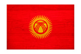 Kyrgyzstan Flag Design with Wood Patterning - Flags of the World Series Print by Philippe Hugonnard
