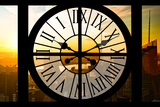 Giant Clock Window - View on the New York City - Beautiful Sunset II Photographic Print by Philippe Hugonnard