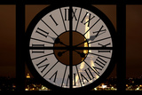 Giant Clock Window - View of the Eiffel Tower by Night - Paris II Photographic Print by Philippe Hugonnard