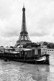 Paris sur Seine Collection - Barges along River Seine with Eiffel Tower VI Photographic Print by Philippe Hugonnard