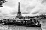 Paris sur Seine Collection - Barges along River Seine with Eiffel Tower IX Photographic Print by Philippe Hugonnard