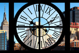 Giant Clock Window - View on the Empire State Building and the New Yorker Photographic Print by Philippe Hugonnard