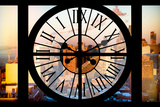 Giant Clock Window - View on the New York in Winter at Sunset Photographic Print by Philippe Hugonnard