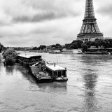 Paris sur Seine Collection - Barges along River Seine with Eiffel Tower II Photographic Print by Philippe Hugonnard