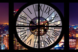 Giant Clock Window - View on the New York City by Night Photographic Print by Philippe Hugonnard