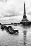 Paris sur Seine Collection - Barges along River Seine with Eiffel Tower Photographic Print by Philippe Hugonnard