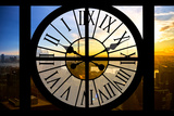 Giant Clock Window - View on the New York City - Beautiful Sunset Photographic Print by Philippe Hugonnard