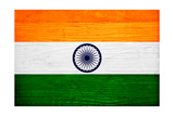 India Flag Design with Wood Patterning - Flags of the World Series Poster by Philippe Hugonnard