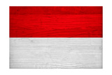 Indonesia Flag Design with Wood Patterning - Flags of the World Series Prints by Philippe Hugonnard