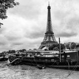 Paris sur Seine Collection - Barges along River Seine with Eiffel Tower XI Photographic Print by Philippe Hugonnard