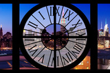 Giant Clock Window - View on the New York Skyline at Dusk V Photographic Print by Philippe Hugonnard