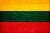 Lithuania Flag Design with Wood Patterning - Flags of the World Series Prints by Philippe Hugonnard