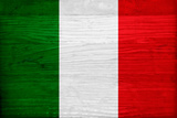 Italy Flag Design with Wood Patterning - Flags of the World Series Prints by Philippe Hugonnard