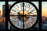 Giant Clock Window - View on the New York City at Sunset Photographic Print by Philippe Hugonnard
