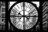 Giant Clock Window - View on the New York City - 401 Broadway B&W Photographic Print by Philippe Hugonnard