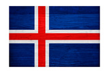 Iceland Flag Design with Wood Patterning - Flags of the World Series Posters by Philippe Hugonnard