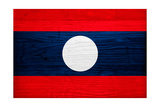 Laos Flag Design with Wood Patterning - Flags of the World Series Posters by Philippe Hugonnard