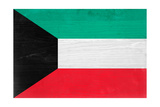 Kuwait Flag Design with Wood Patterning - Flags of the World Series Print by Philippe Hugonnard